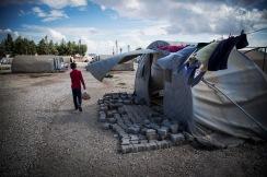 Flyktningeleir for befolkningen i Kobanê ved Suruc